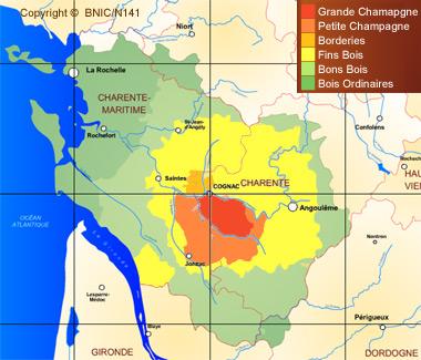 Carte des crus de l'appellation du vignoble de Cognac