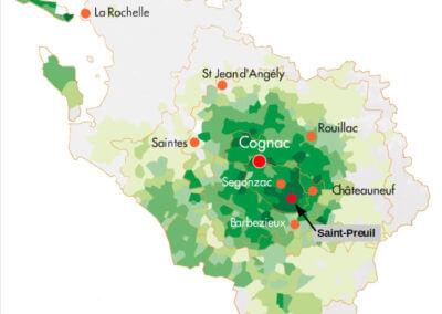 Map of the vineyard of Cognac