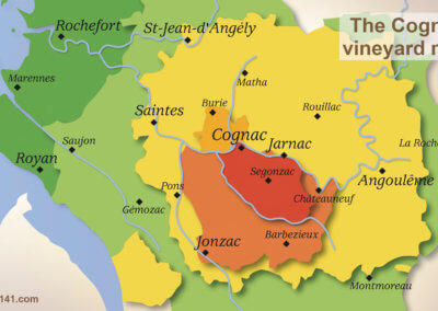 Map of the vineyard of cognac with its 6 crus